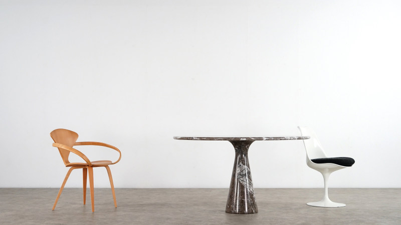 mangiarotti table with cherner and saarinen chair