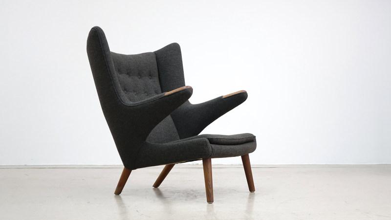 hans j wegner papa bear chair front view mid century modern