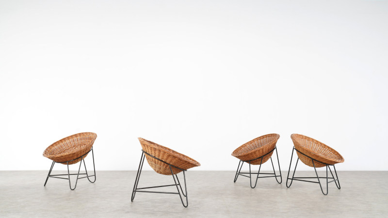 Mathieu Mategot Wicker Chair front view