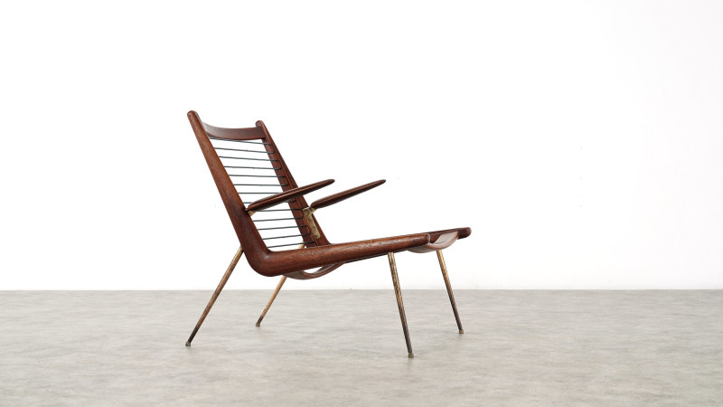 peter hvidt boomerang chair without cushions