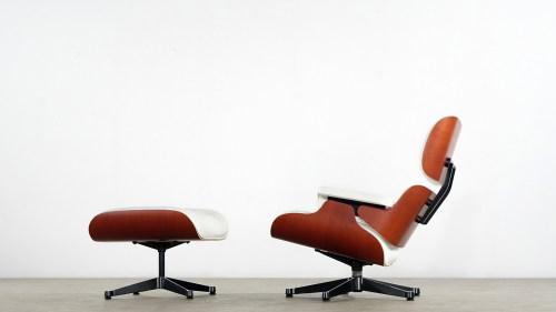 Charles Eames   Lounge Chair U0026 Ottoman, Cherry Wood U0026 White Leather
