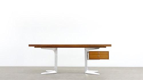 Herbert Hirche Schreibtisch Desk für Holzäpfel Frontansicht Mid Century Modern